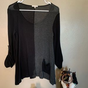 Just Ginger Black and Gray Blouse